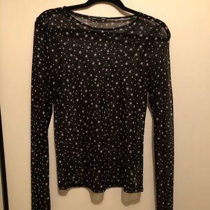 Sheer star long sleeve blouse 🖤